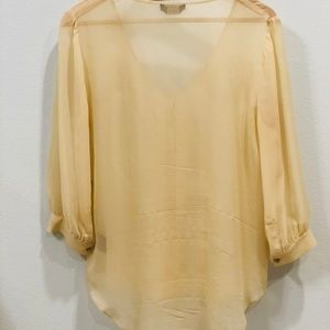 bebe Tops - Bebe Sheer 100% Silk Blouse with Pleated Detail
